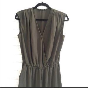 Zara Olive Green Jumpsuit Size M